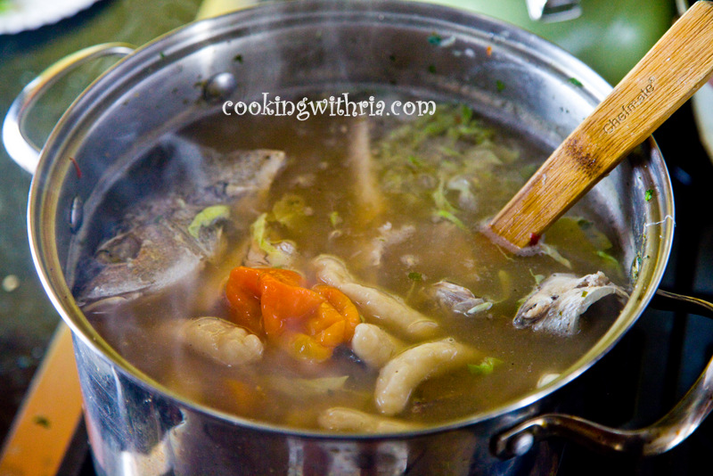 Remove whole hot pepper and sprigs of thyme before serving for Trinidad fish broth