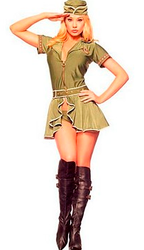 Pin Up Army Girl includes fringe trimmed underwire garter dress with star accents and lace up back attached oversized back bow epaulette shrug ...  sc 1 st  Costumes & Costumes: 5PC PIN UP ARMY GIRL MILITARY COSTUME