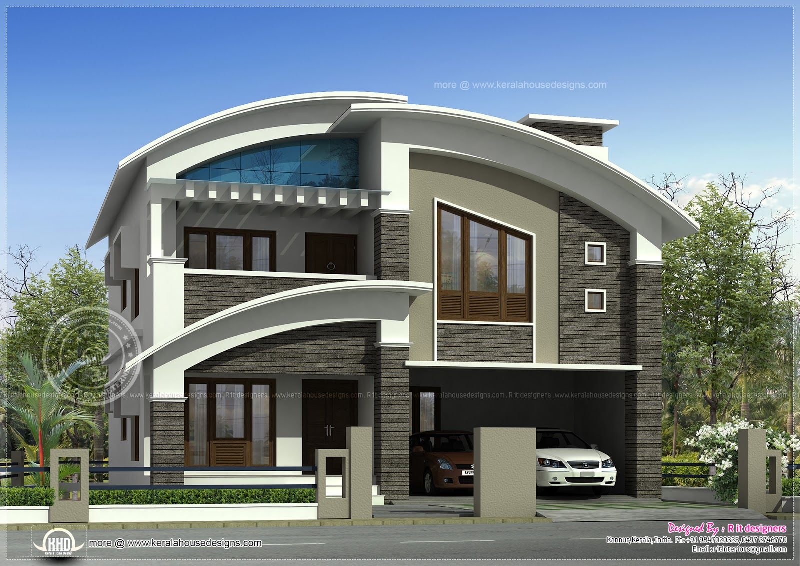 2568 square feet modern villa exterior kerala home for Exterior villa design photo gallery