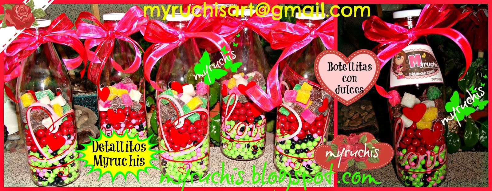 Myruchis: Detalles. Botellitas de vidrio con dulces.