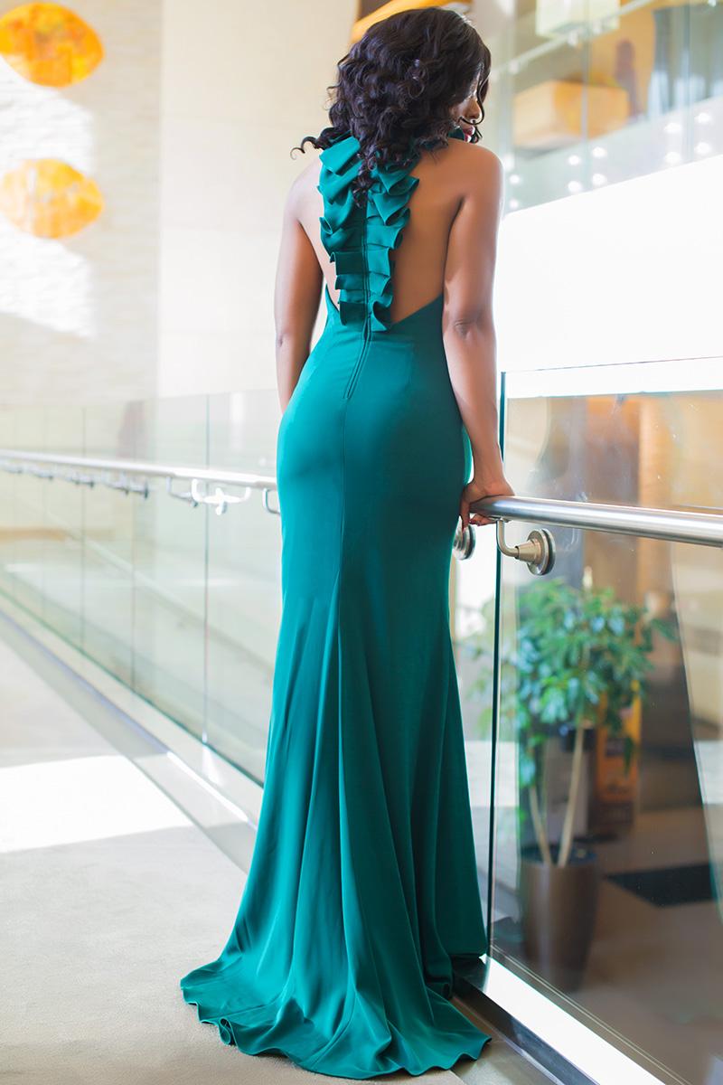 Badgley Mischka collection ruffle back gown, wedding dress, www.jadore-fashion.com
