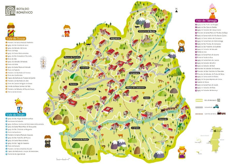 Mapa da Rota do Românico