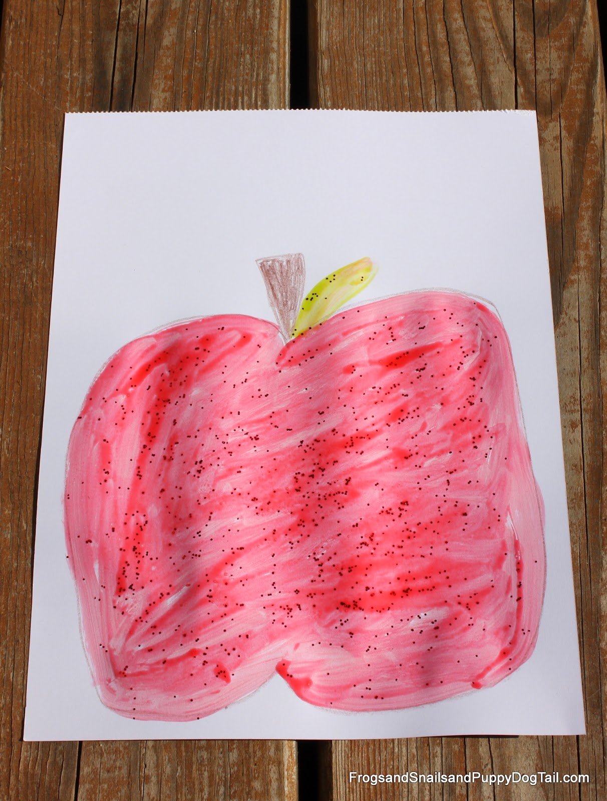 Apple craft with apple scented glitter glue