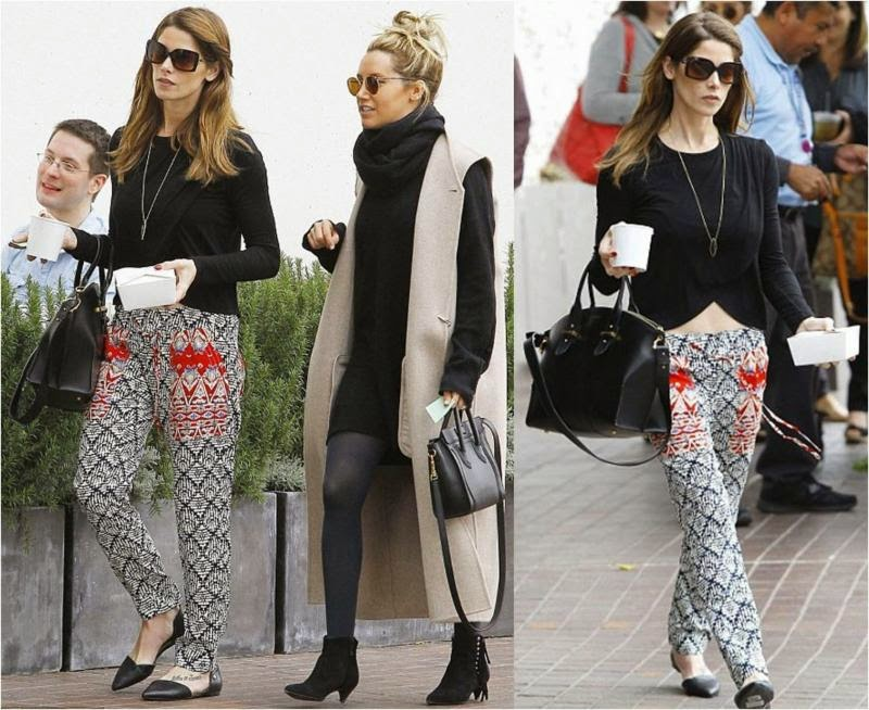 THML Drawstring Printed Pants Worn by Ashley Greene