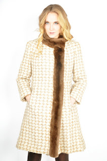 Vintage 1960's wool houndstooth print princess coat with brown fur trim.