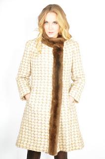 Vintage 1960's wool houndstooth print princess coat with brown fur trim.