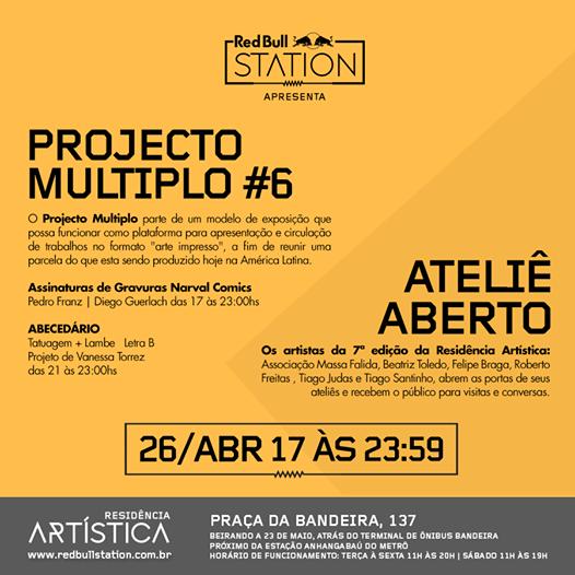 Cartaz da mostra Projecto Multiplo #6, 2014. Red Bull Station,São Paulo
