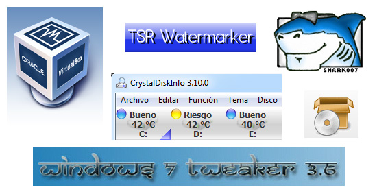 logo WaterMark Image Windows 7 Tweaker SaveGameBackup Shark007 VirtualBox CrystalDiskInfo