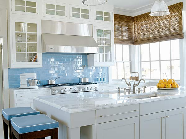 kitchen blue tile