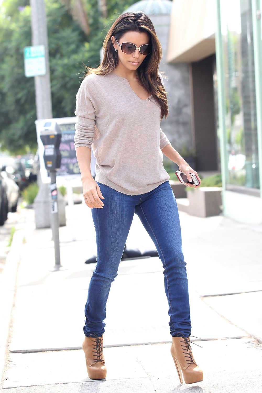 Celebrity Tight Jeans and High Heels