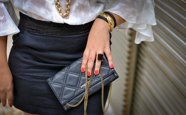clutch preta arezzo - bolsa de mão