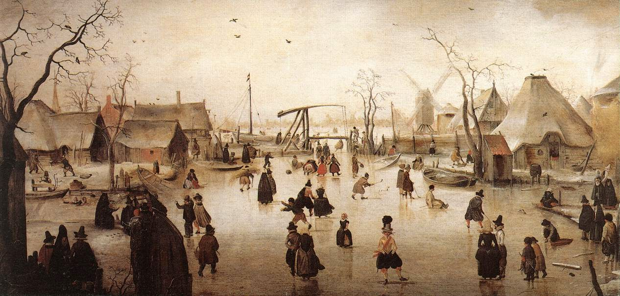 Dutch ice scene, by Hendrick Avercamp