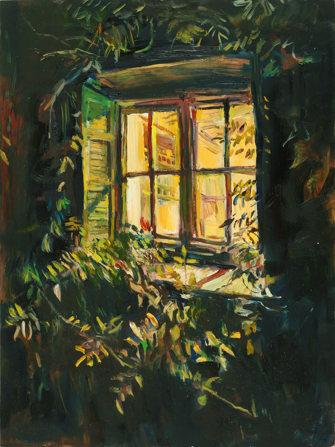 This Interior Exterior Contrast Painting Reminded Me Of A Previous Called Kitchen Window At Night Painted Outside Looking In On Trip To Provence After