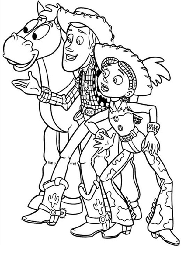 Woody and jessie toy story coloring pages
