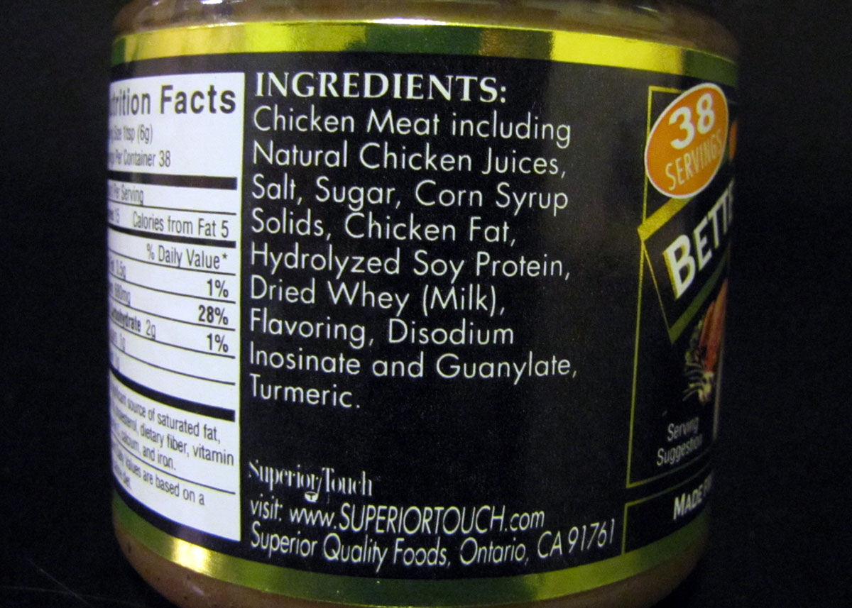"""And look, the first ingredient is """"Chicken Meat including Natural Chicken Juices."""" It's really from chicken meat. Novel!"""