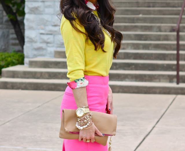 "<img alt=""fall fashion, fashion 2014, brunette hair, long brown hair, kslademade, jcrew, jcrew factory, hot pink skirt, forever 21, fashion blogger, style blogger, affordable fashion, michael kors watch, pearl bracelet, tassels, zara, zara sandals"""