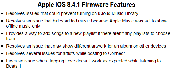 iOS 8.4.1 Features
