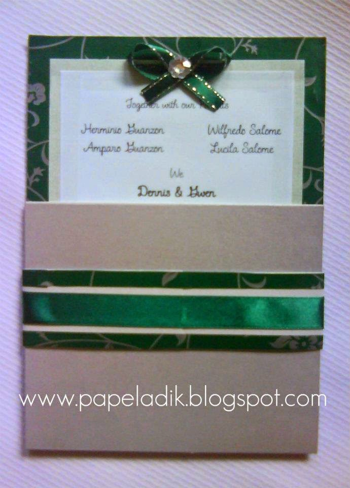 Papeladik Wedding Invitation Emerald Green And Silver