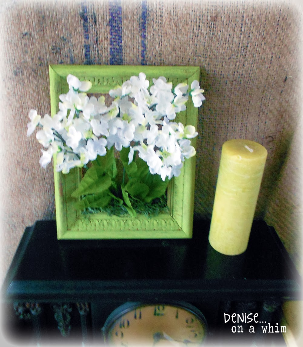 Bright and cheery framed flower bouquet via http://deniseonawhim.blogspot.com