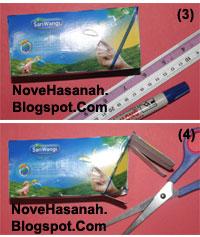 cara membuat atau langkah-langkah pembuatan kotak pensil dari bekas kemasan teh celup dan potongan-potongan ornamen kartu undangan 3