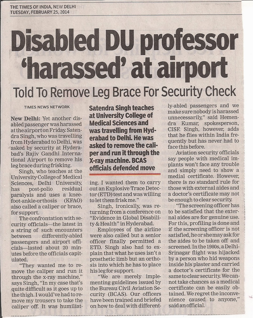 Disability activist Dr SATENDRA SINGH harassed at airport