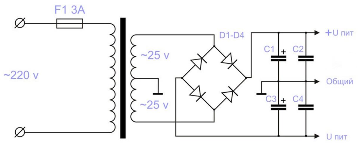 Простейшие схемы блок питания с диодным мостом
