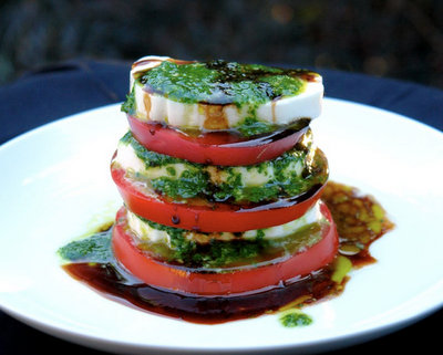 Tomato Mozzarella Caprese Salad @ Laylita.com, another Pretty Way to Serve Tomatoes @ AVeggieVenture.com.