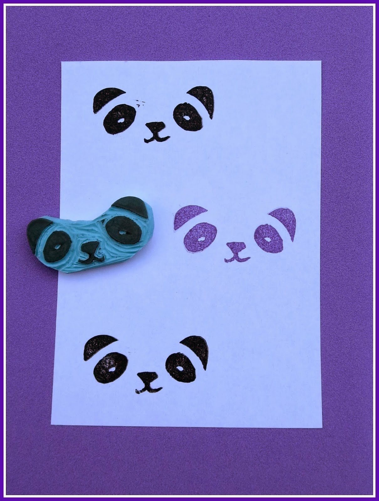 sello handmade panda stamp diy