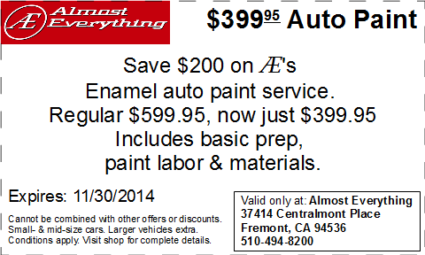 Coupon $399.95 Car Paint Sale November 2014