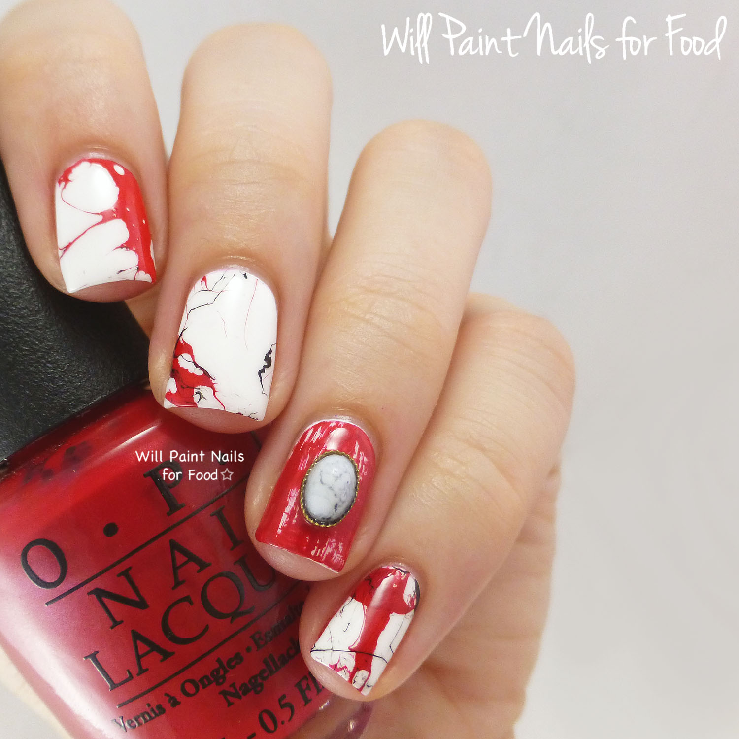 Red marble nail art