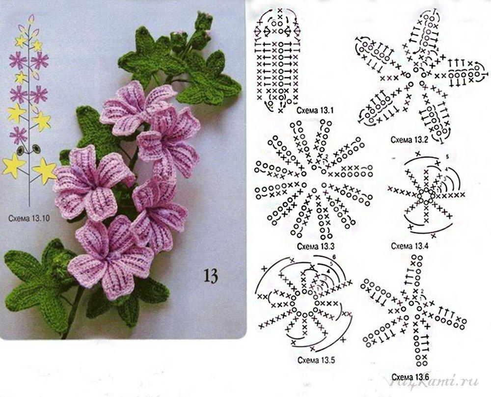 Вязание крючком цветов и схемы