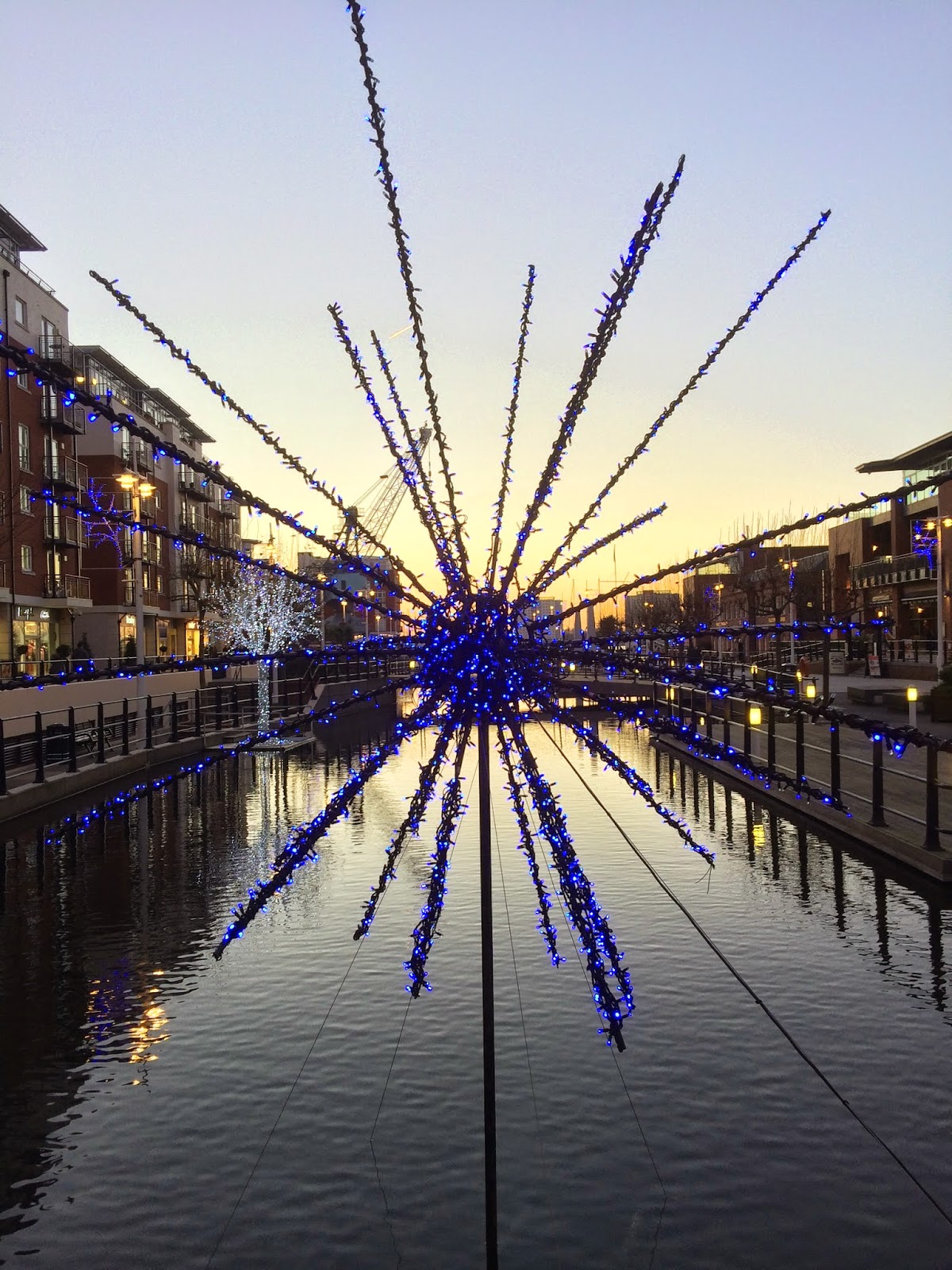 Christmas decorations/lights at Gunwharf Quays Portsmouth