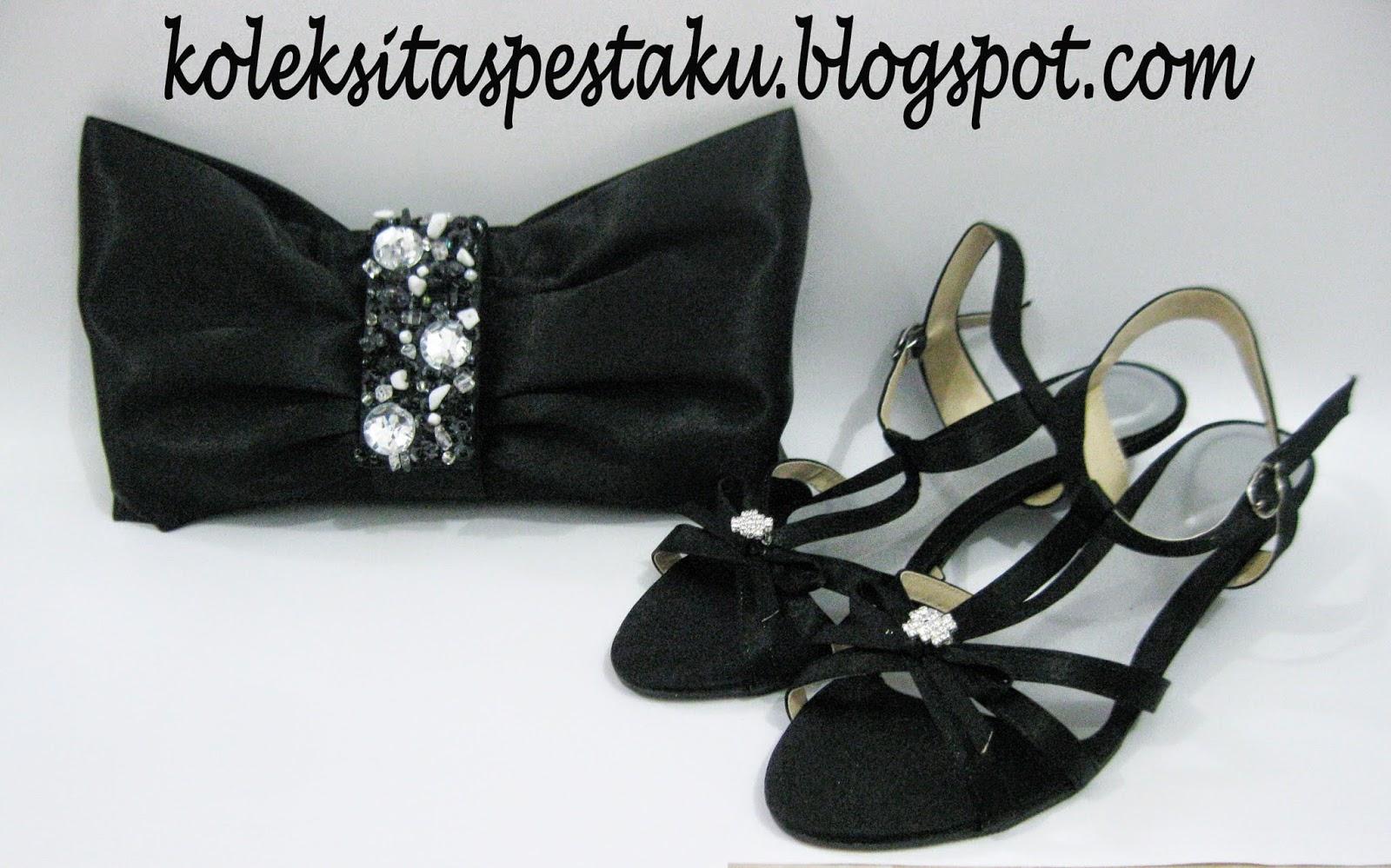 Sepatu Tali Tali dan Tas Pesta Pita Besar Payet Matching
