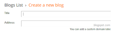 Blogger: create new blog