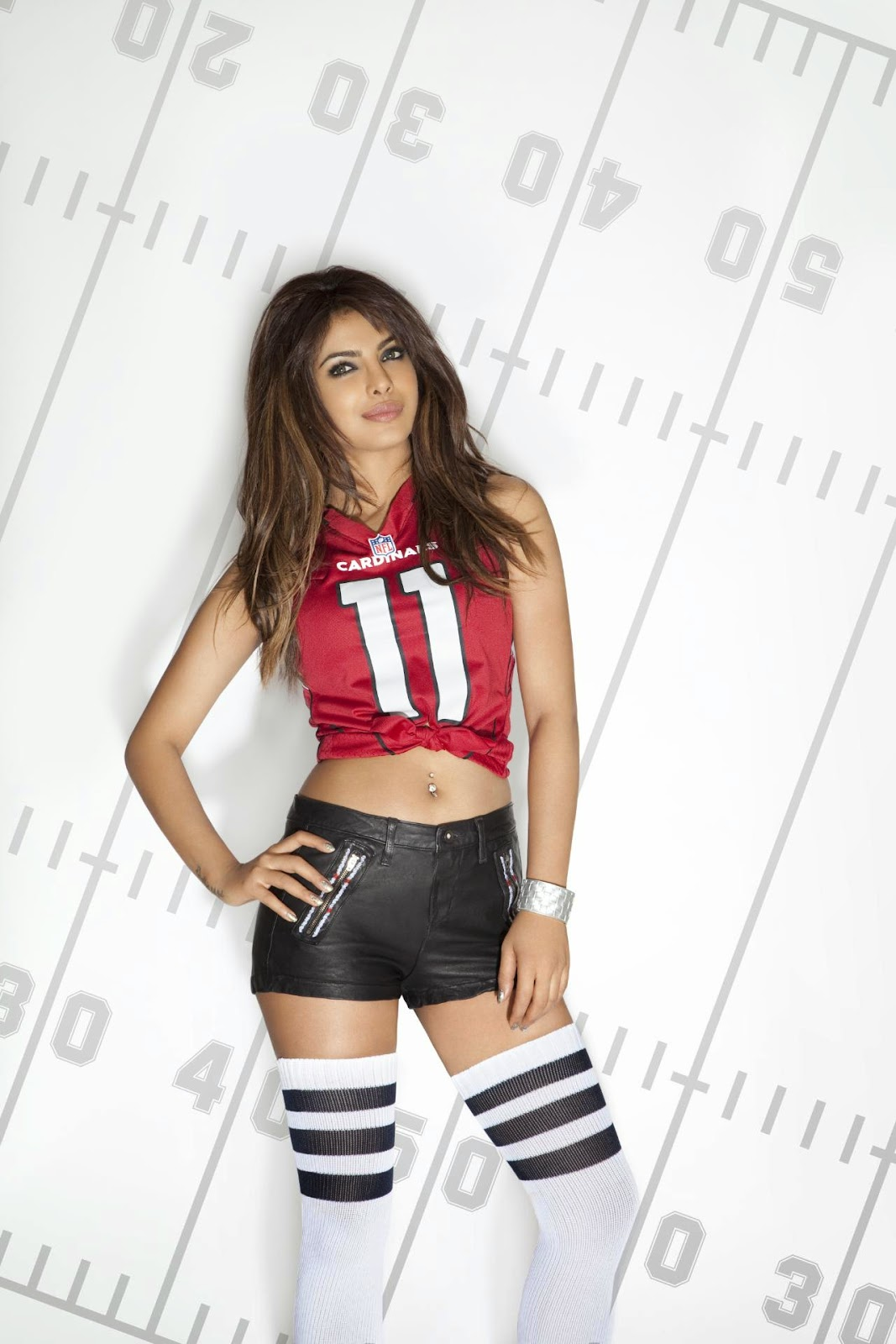 Priyanka Chopra in NFL Jersey & Sexy Hot-pants