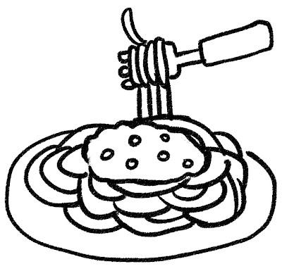 スパゲティ・ミートソースのイラスト モノクロ線画
