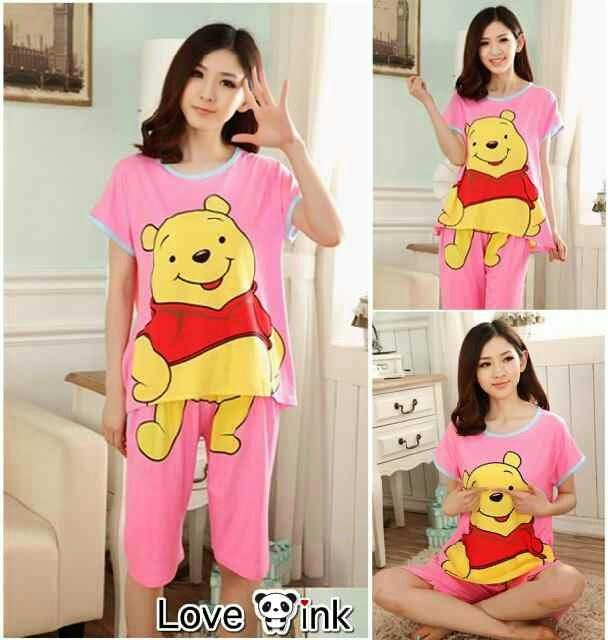 Setelan Pooh Pink - Setelan Love Ink - Harga Saudara