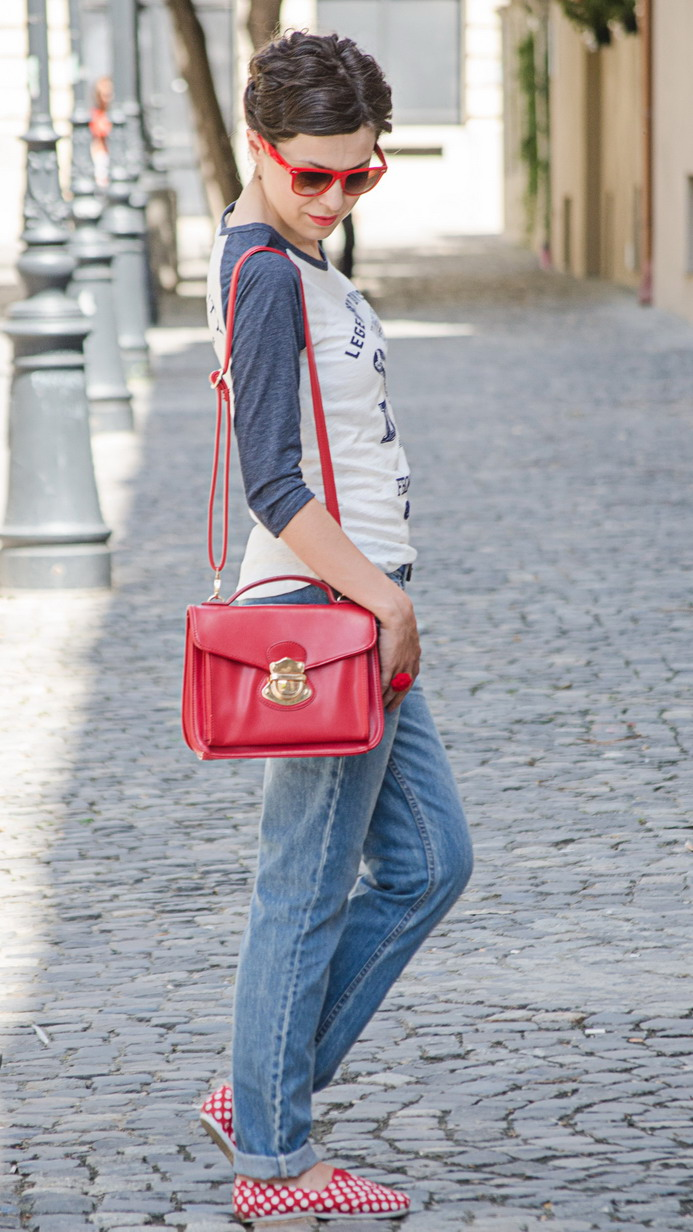 Miss Green Casual boyfriend jeans look