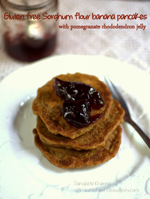 101 gluten free breakfasts | sorghum banana pancakes with pomegranate rhododendron jelly