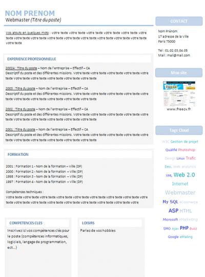 modele cv webmaster