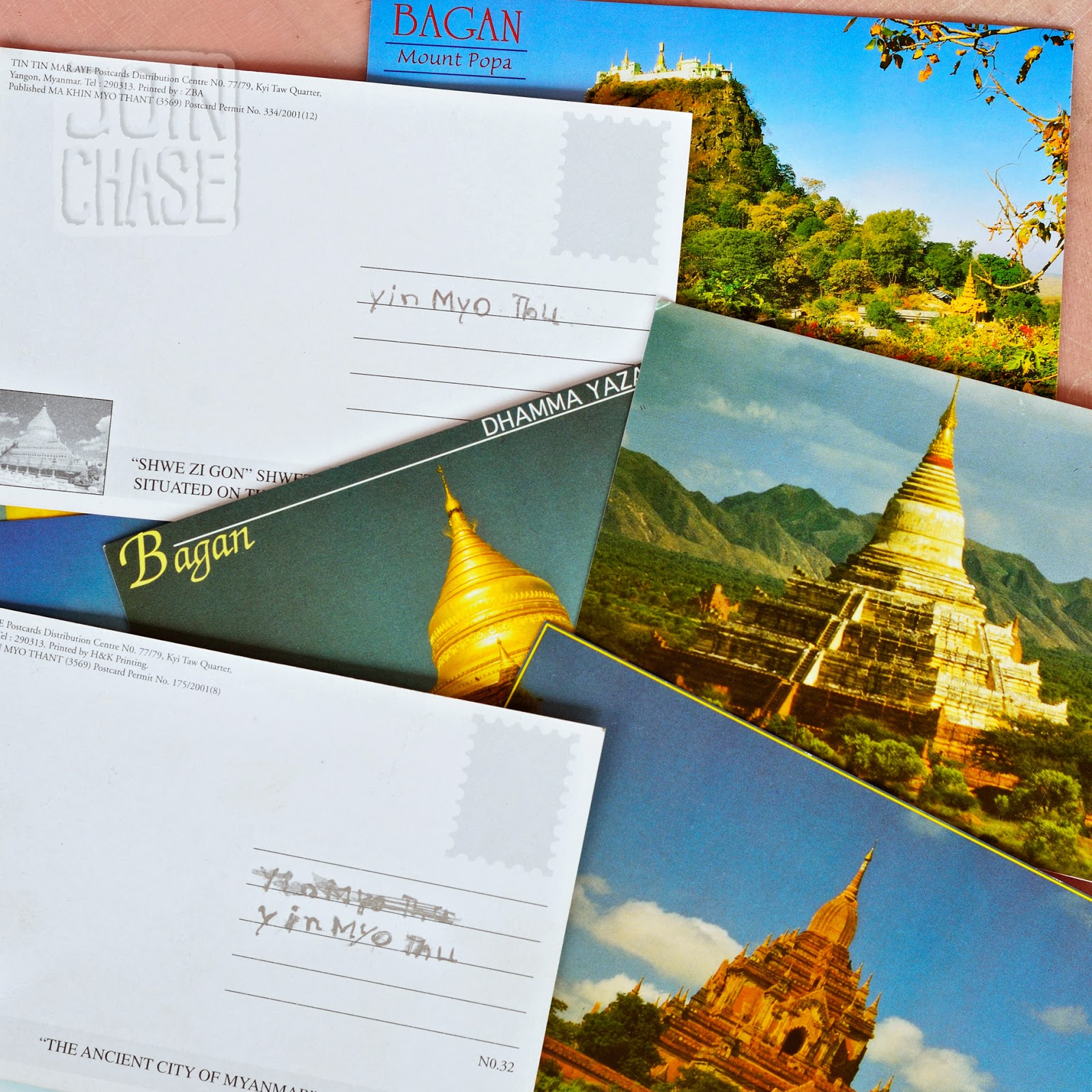 A pile of postcards from Bagan, Myanmar.