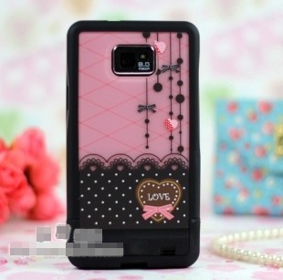 Screen Protector+Splited PinkBow Lace Hard Case For Samsung Galaxy S2 i9100 3171