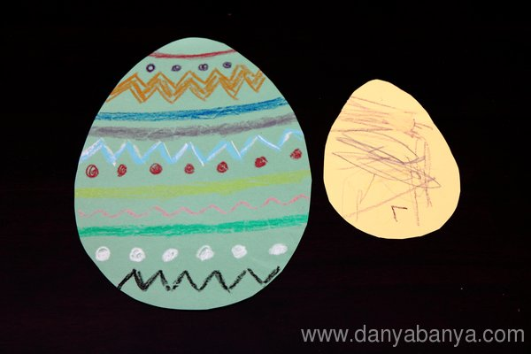 Crayon decorated easter eggs