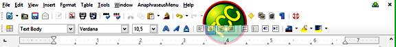 toolbar libreoffice writer