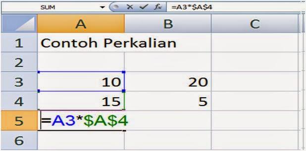 Rumus Excel dengan alamat absolute