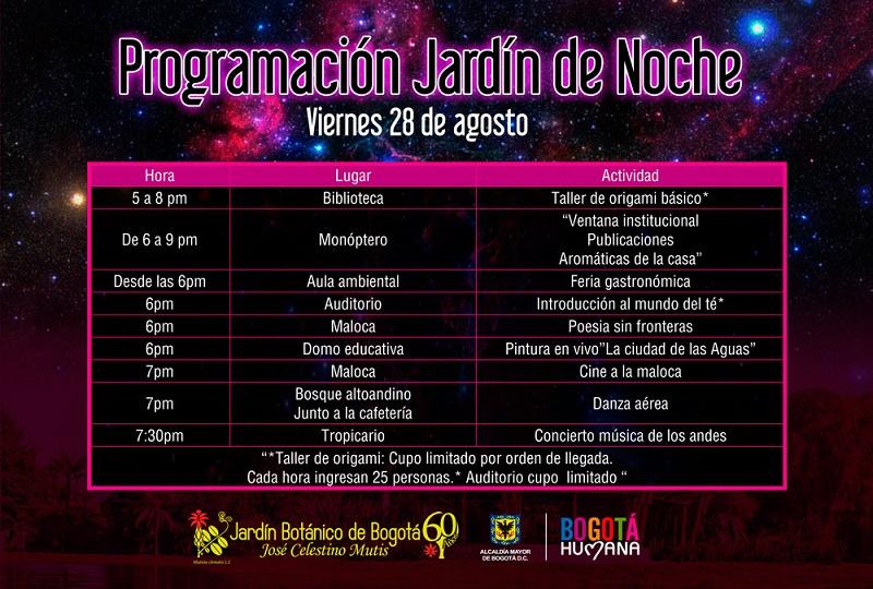 Vive el jard n bot nico de noche zona bogota dc for Programacion jardin botanico