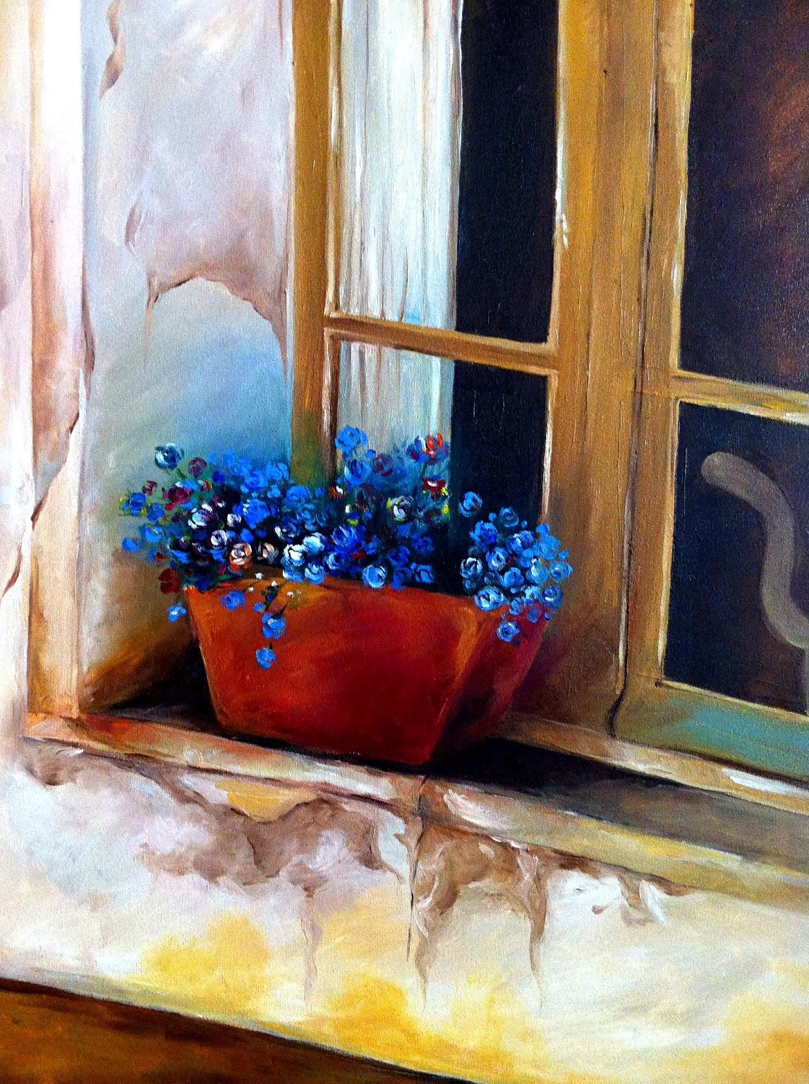 L 39 espace oo vision peinture huil sur toile la fen tre for Peinture sur fenetre