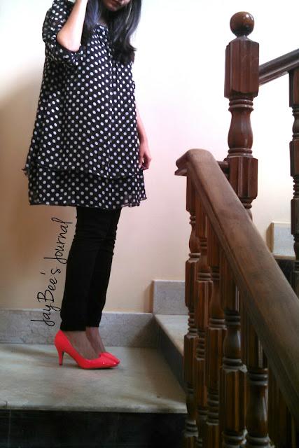 retro polka dot dress pakistan, New Look straight pant, H&M neon pink heels