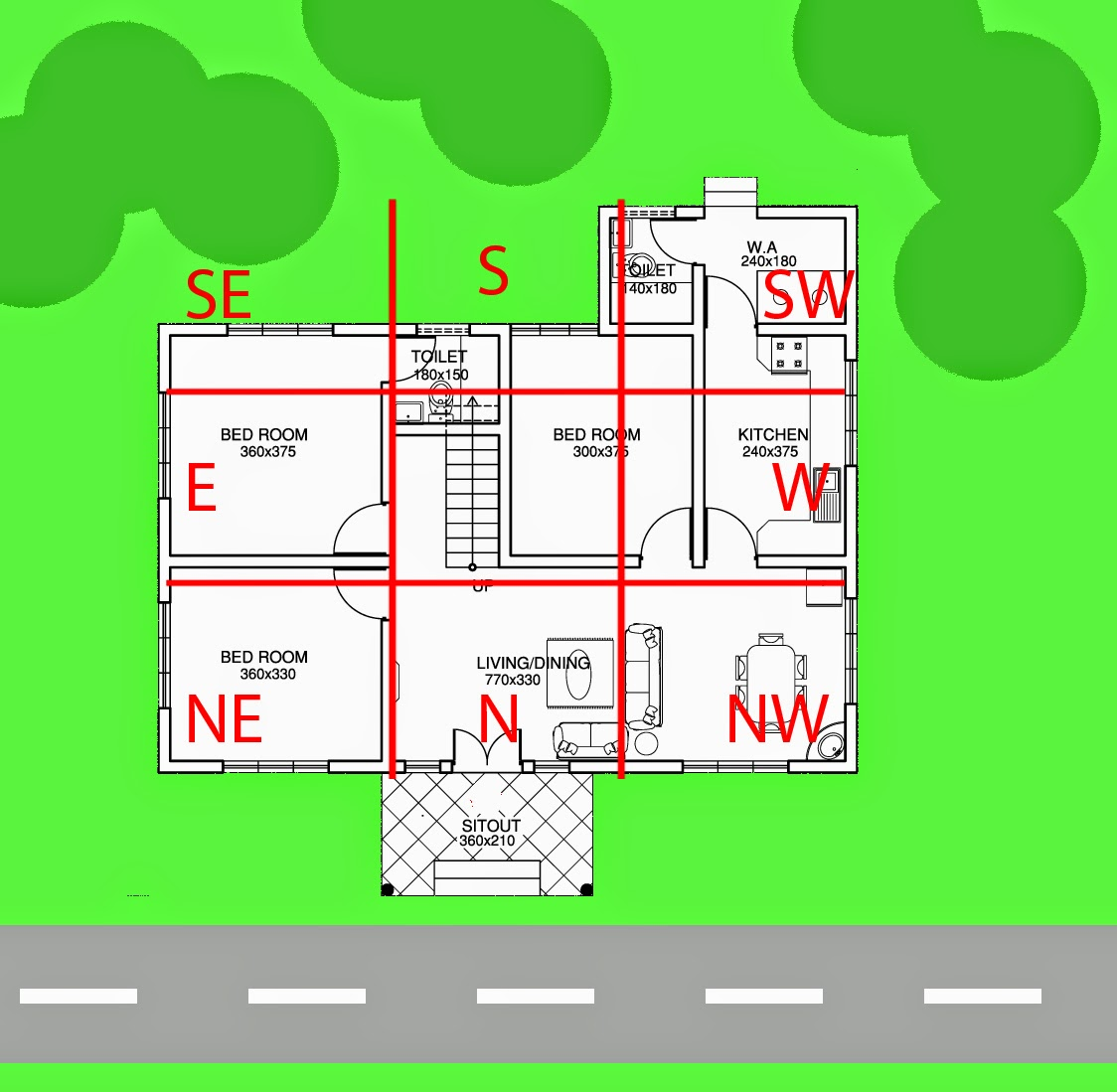 Determine facing and direction demarcate the 9 palaces of for Feng shui home entrance direction