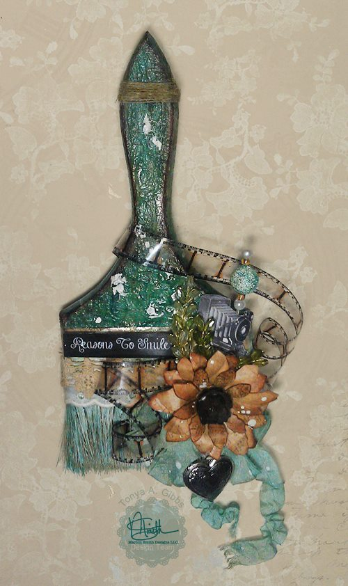 Altered Paintbrush by Tonya A. Gibbs at Psychomomscrapbooks.blogspot.com  #Altered #MixedMedia #MarionSmithDesigns #Nirvana #Art #Paintbrush #paint #brush